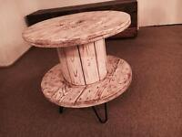 Distressed Drum Side Table
