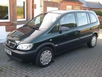Vauxhall Zafira Life 7-seater MPV 1.6 petrol 16 valve manual GREEN 54-plate low-mileage, long MOT