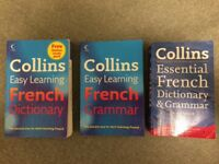 Collins easy learning and essential learning dictionaries and grammar books.