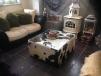 Quality Cowhide Large Coffee Table Ottoman Footstool - Cow Skin Hide Cost £2500