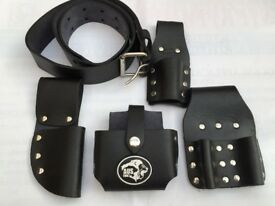 TOP FINE QUALITY SCAFFOLDING REAL LEATHER TOOL BELT TOOLSET POUCHES (UK) BLACK