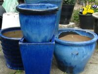 BLUE GLAZED PLANTS POTS