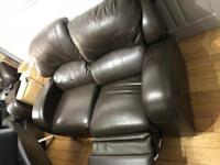 Brown leather reclining sofas