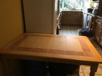 Kitchen Table - Pine with tiled top & 4 Chairs for Sale