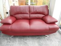 Harveys red leather 2 and 3 seater sofas