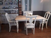 FARMHOUSE PINE DINING TABLE AND 4 CHAIRS