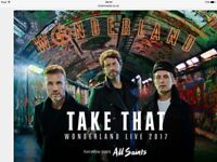 Take That Tickets x 2 seated tickets level 1 block 117