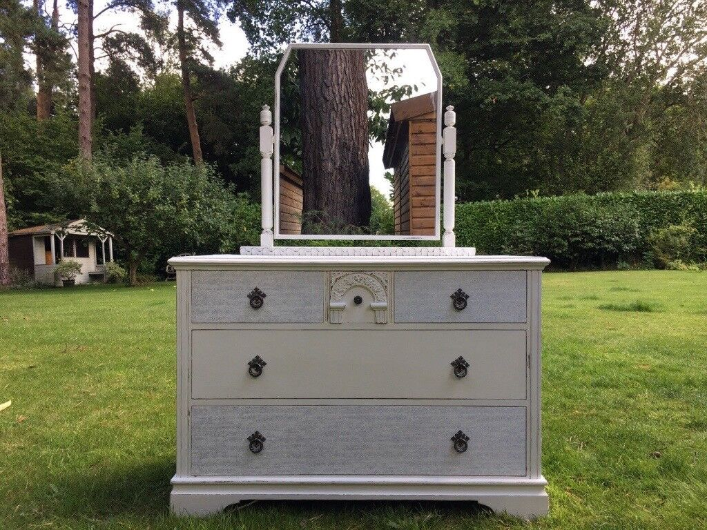 Hand Painted Vintage Solid Oak Dressing Table / Chest Of Drawers