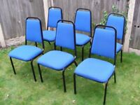 6x Stacking Chairs Blue Padded Reception Study Conference Meeting Waiting Room