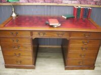 Stunning Large 5.5ft Oxblood Leather Inlay Desk