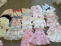Baby girls clothes ranging from tiny baby to 6 months old.