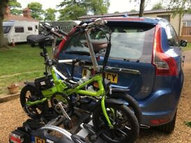 Electric Bikes x2 (KwikFold)with heavy duty Car towbar cycle carrier 20 mile range for motorhome etc