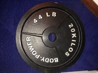 2 x Body Power Olympic lifting plate weights 20kg