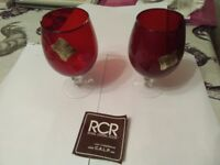Ruby glasses x 2 Royal Crystal Rock. By Bondware. Large wine size or brandy, clear stem.