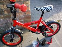 "Cosmic Drag Racer Boys Kids Bike 12"" Red and Black with Stabilisers Good Condition"