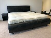 Super King Black Leather Bed With 2 Matching Bed Side Tables