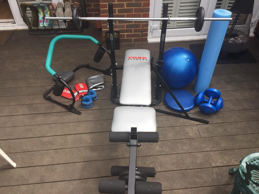 Fitness bundlein Guildford, SurreyGumtree - Fitness bundle waiting for collection only. The bundle includes a weights bench, 2 weight bars, 4 starter weights, 2 4.5kg dumbbells, 2 fitness balls, wobble board, wrist/ankle weights, sit up support, punchbag corner frame, punchbag gloves, muscle...