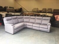 Ex-display Jemima grey fabric corner sofa with one electric recliner seat
