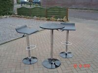 Black and Chrome Bistro Table with Two Chairs / Stools. Can Deliver.