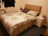 Double bed with drawer matress and headboard