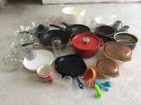 Pots, pans and glasses - kitchen starter set