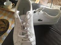 As BRAND NEW Lacoste straight set white leather trainers 100% real