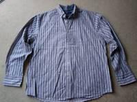 Maine New England shirt, grey stripes, size large