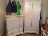 Painted white pine wardrobe and drawers
