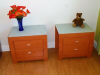 Pair of Matching 2 Draw Bedside glassed toped beech style cabinets , modern living
