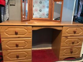 Dressing table and triple mirror