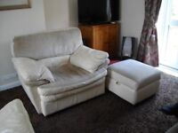 Part Leather and Fabric Sofa, Armchair and Storage Footstool