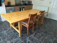 Large Table with bench and two chairs: 2.2m X 1m