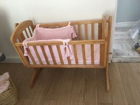 Wooden Crib in Perfect condition. Hardly used