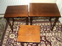 high quality NESTING TABLES vintage wood Tables Set Of 3
