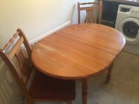 Pine kitchen table & 2 chairs