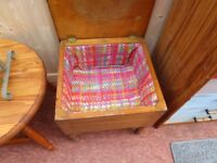 ANTIQUE SATINWOOD LIFT TOP SEWING BOX/STOOL. 18ins X 18ins X 18ins