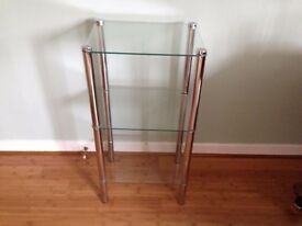Glass & Chrome Storage Shelves 3 tier in as new condition.