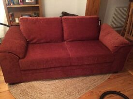 3 seater fabric sofa terracotta
