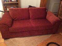 3 seater fabric sofa terracotta