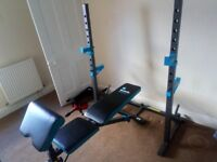 Weight bench, rack and 169 kg of weights