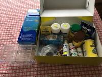 Various items for fish care