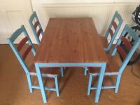 Retro Wooden Table and Four Chairs