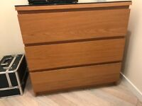 Ikea oak set of 3 drawers