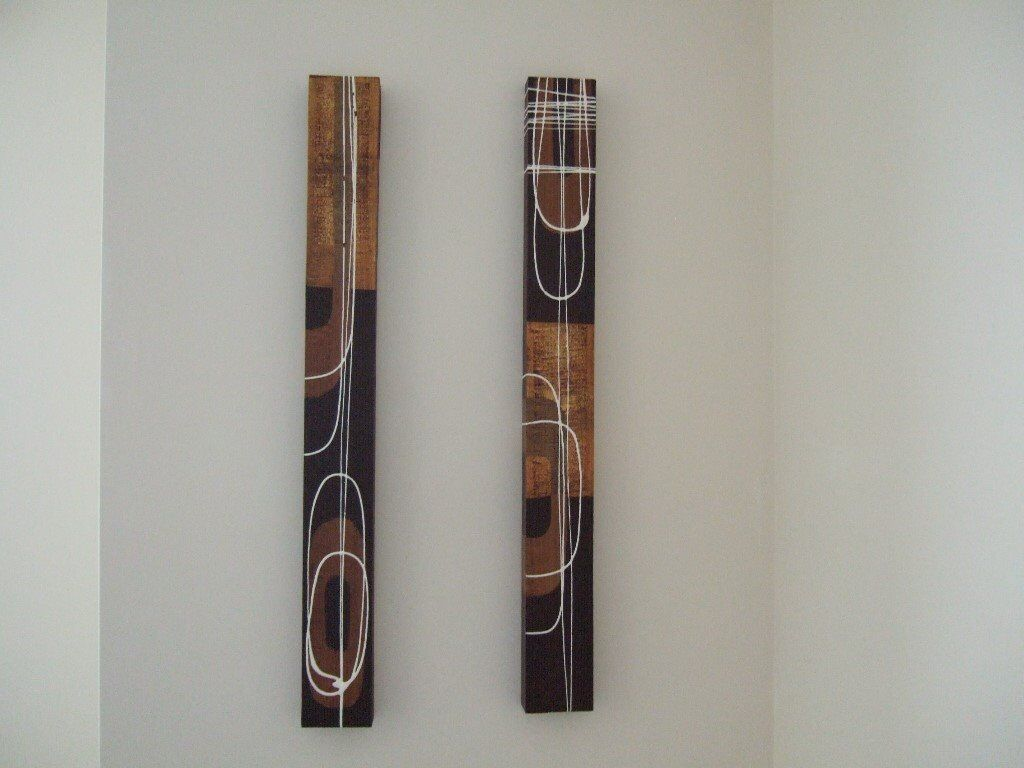 Pair wall art bars two unusual long narrow abstract painted canvas on wood in highcliffe dorset gumtree