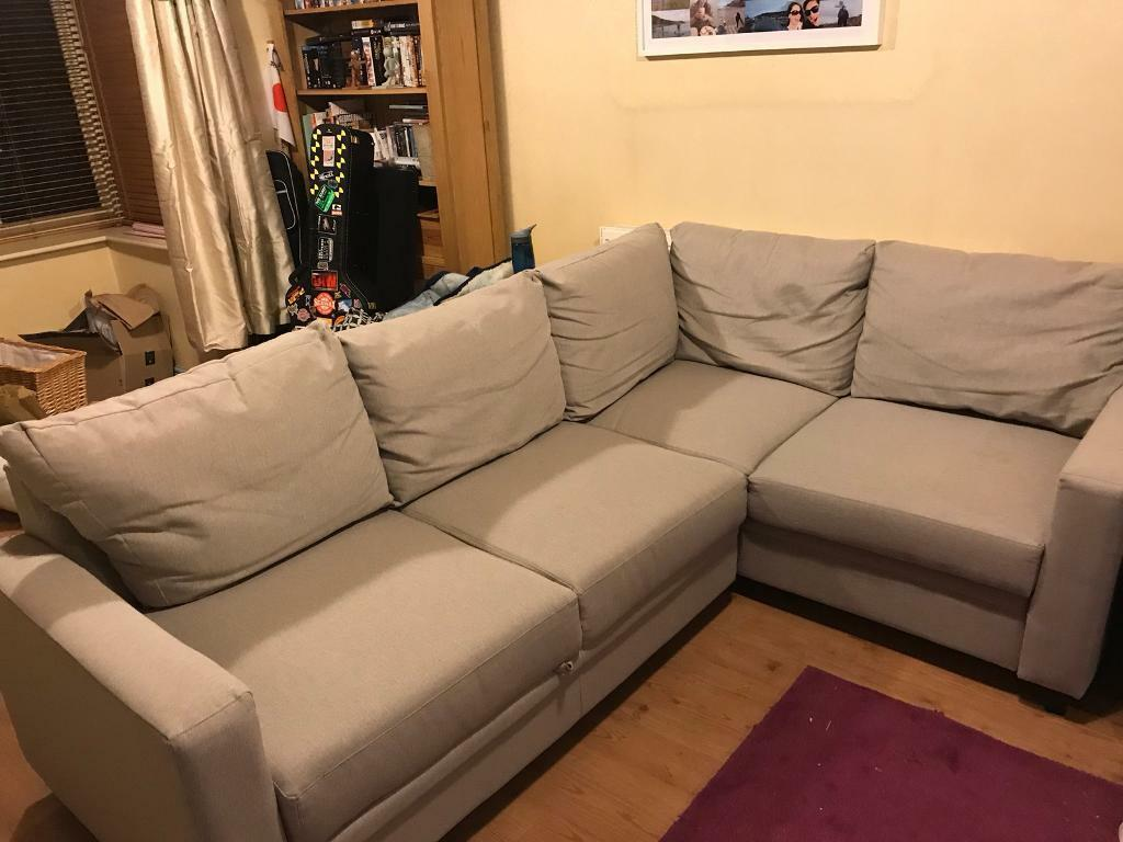 Cream Corner Sofa Bed with Storage