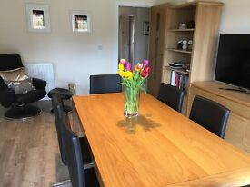 John Lewis Dining Table, Sideboard, 6 Black Leather Cantilever Chairs & 2 Bookcases