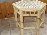 Hexagonal bamboo table,strong, sturdy, table.