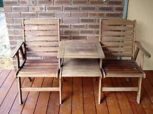 Solid timber garden chair/table/chair setting Safety Bay Rockingham Area Preview