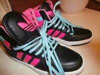 Girls trainers size 5 adidas black/pink/blue laces-kick attitude high back