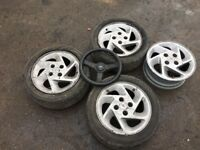 4 rs turbo wheels and steering wheel good condition